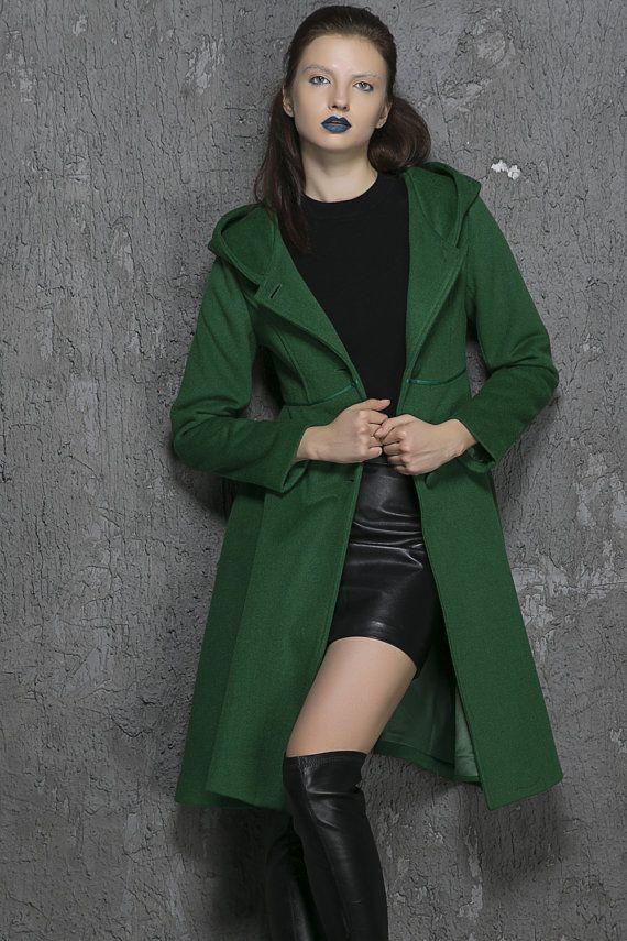 Lange Winterjas Met Capuchon Dames.Green Coat Wool Coat Midi Coat Hooded Coat Winter Coat Womens