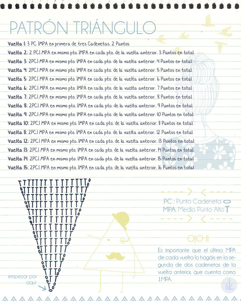 Patrón de alfombra de Ganchillo XXL triangular \