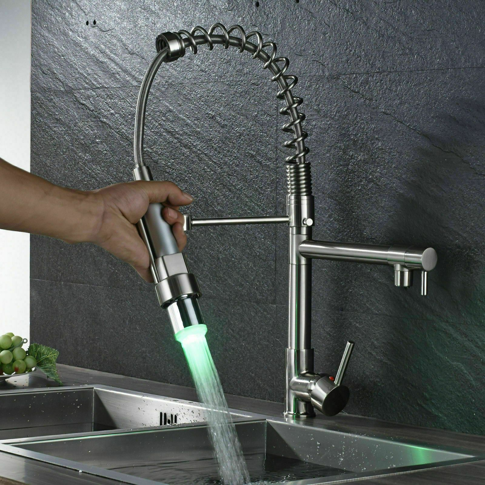 Led Kitchen Faucet Chrome Spring Deck Mount Pull Down Sprayer Sink
