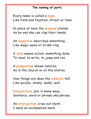 Poem to remember what nouns, adverbs etc are | Grammar ...