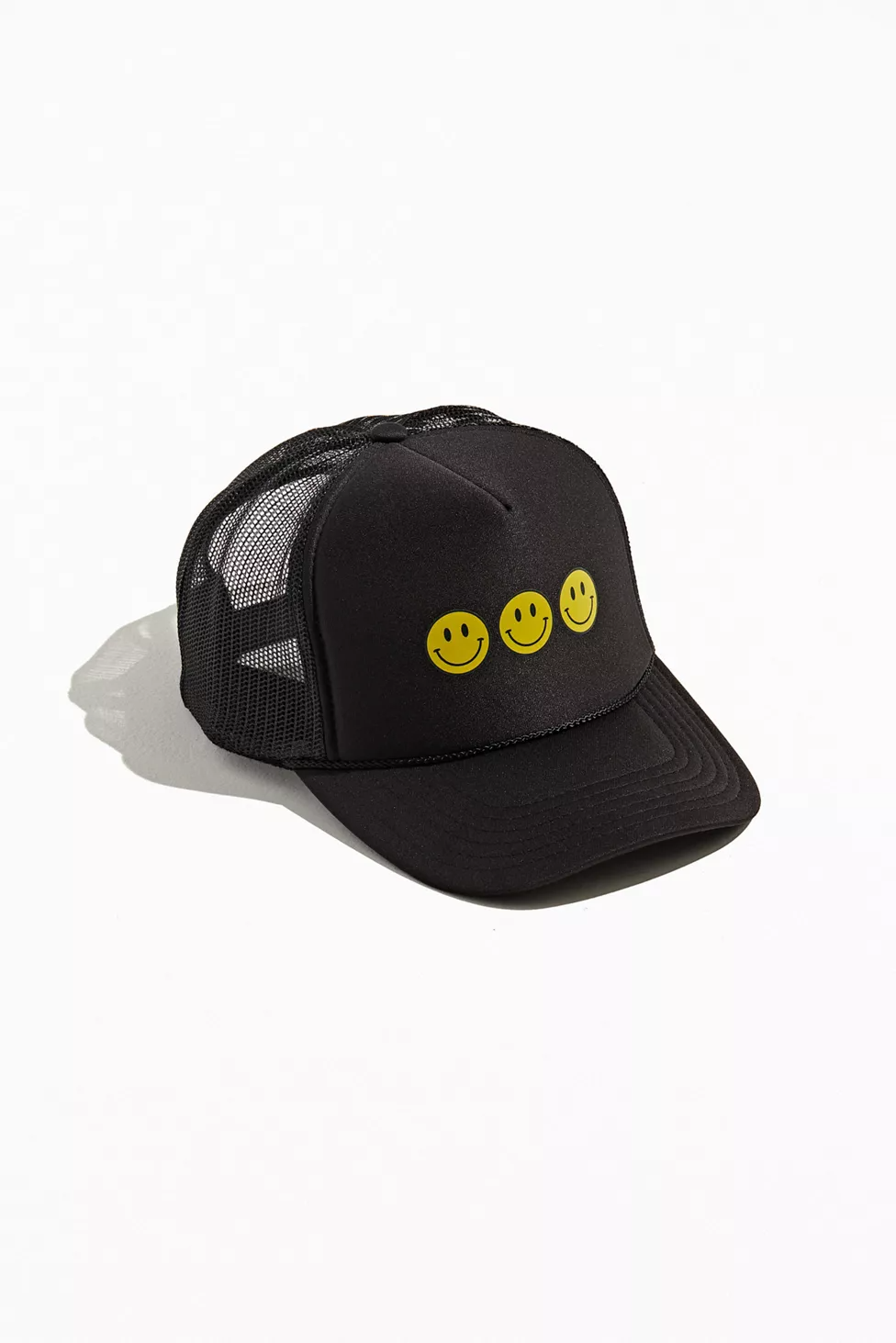 Triple Smiley Trucker Hat In 2021 Trucker Hat Mens Trucker Hat Trucker