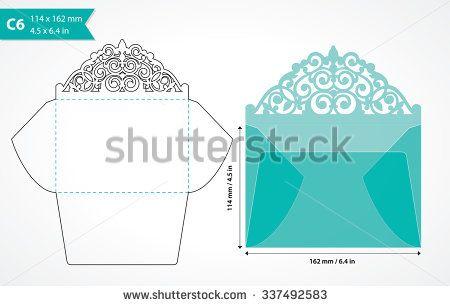 Die Cut Envelope Template Laser Cut Vector Envelope For Wedding