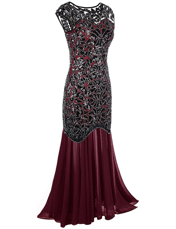 Under 50 I Think Looks Amazing 1920s Black Sequin Gatsby Maxi Long Evening Prom Dress Clothin Flapper Prom Dress Best Formal Dresses Formal Evening Dresses [ 1500 x 1155 Pixel ]