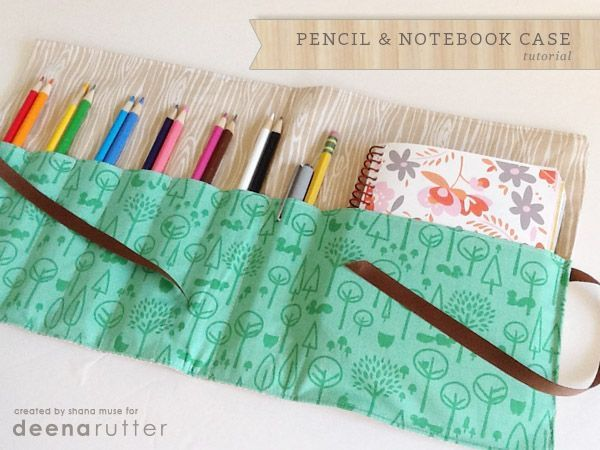 Homemade Sewing Pencil and Notebook Case. Easy sewing project for the beginner. Make great gifts for back to school time.