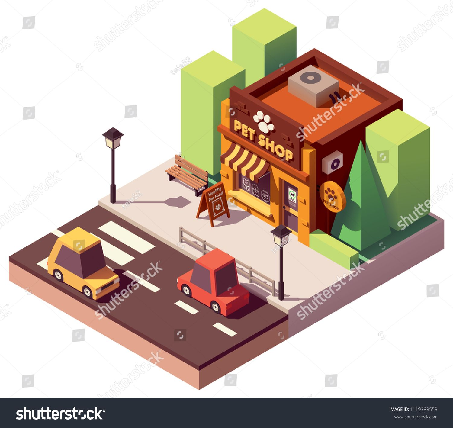 Vector Isometric Pet Store With Signboard And Awning Ad Pet Isometric Vector Awning Pet Store Isometric Pet Store Ideas