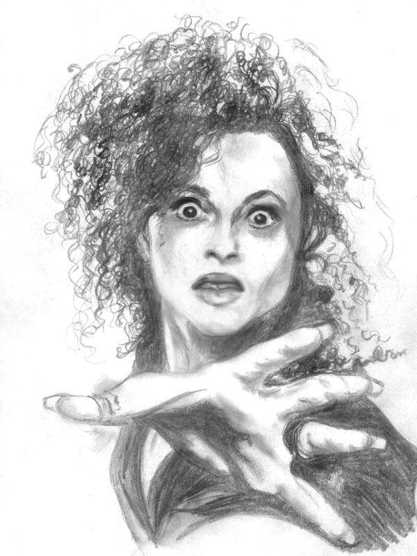 Harry Potter illustration ART PRINT Bellatrix Lestrange Black and White