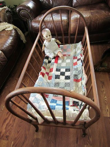 s Antique Wood Baby Cradle Bassinet Bed Wooden Wheels Doll