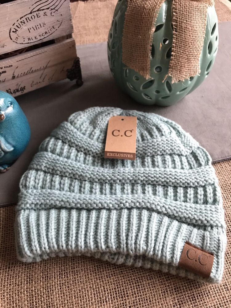 bb21088da75a14 New Soft & Cozy CC Mint Green Winter Cable Knit Hat Beanie | Clothing,  Shoes & Accessories, Women's Accessories, Hats | eBay!