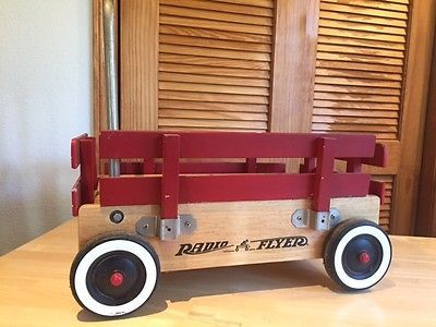 Kids Baby Vintage Red Walker Push Wagon Radio Flyer Wooden Toy Cart
