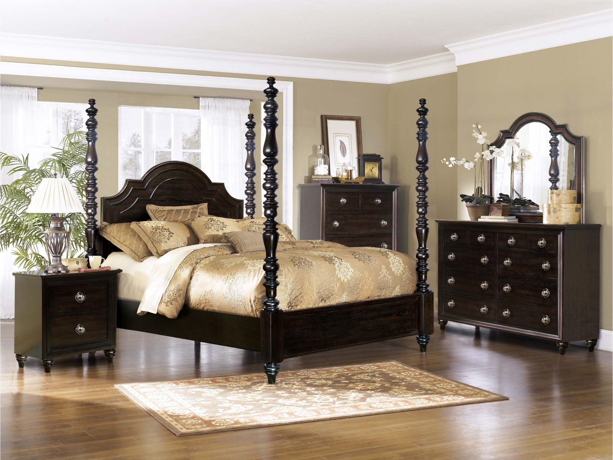 Dark Oak Classic Traditional 4 Piece Queen Bedroom Set