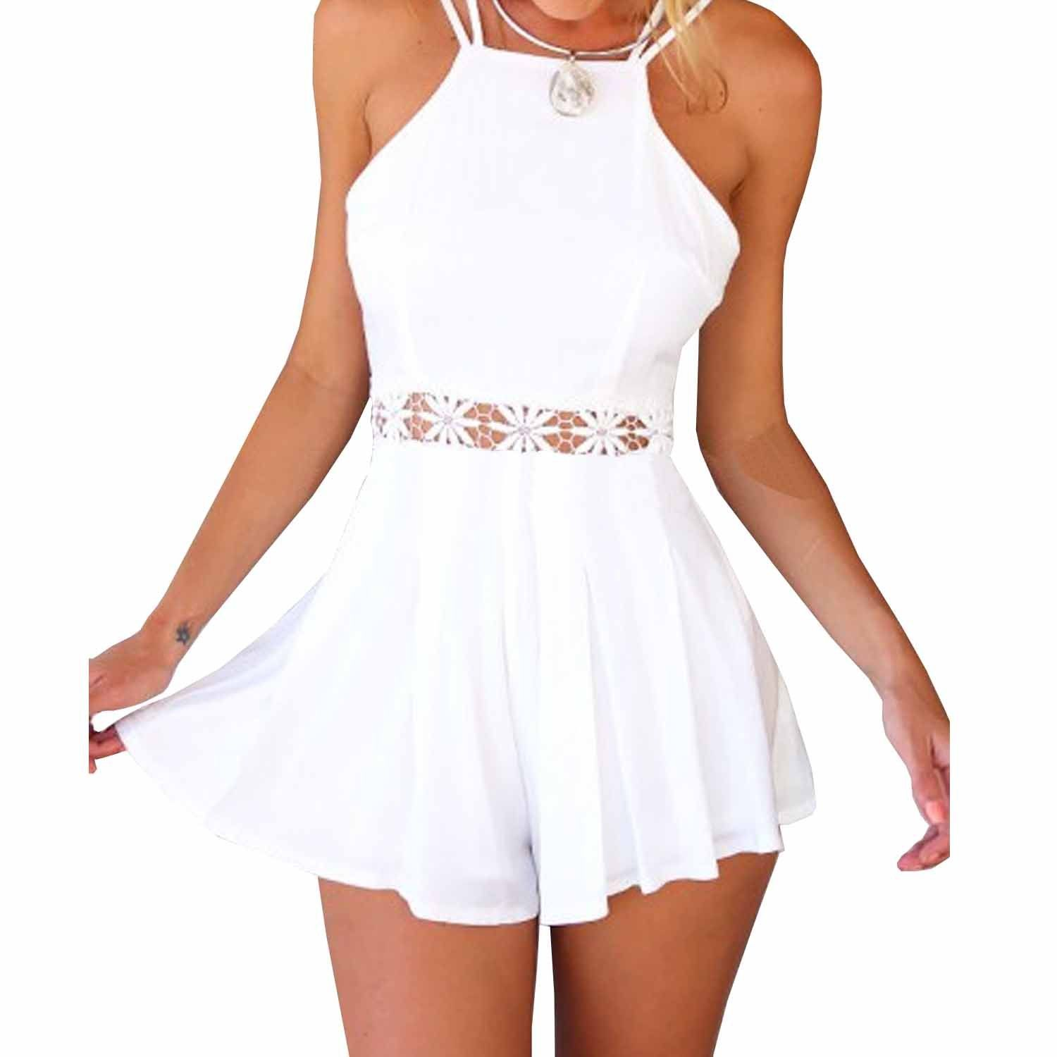 30a971e2843c SUNNOW Ladies Backless Hollow Waist Short Jumpsuit Playsuit for Beach  Clubwear  Amazon.co.uk  Clothing