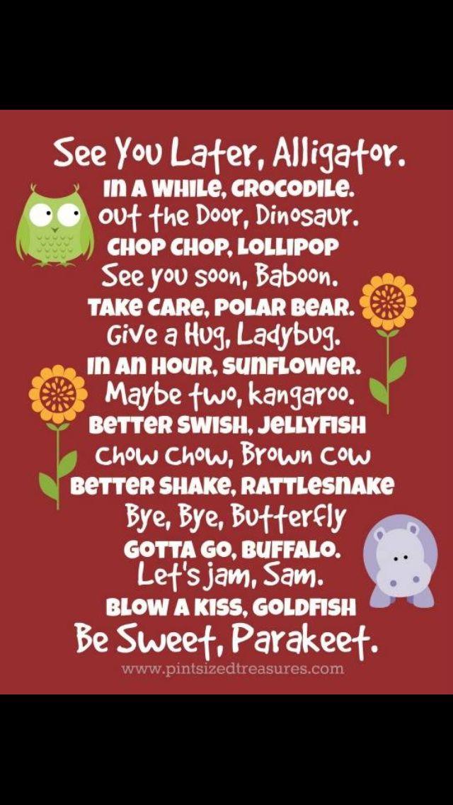 Cute goodbye saying for children