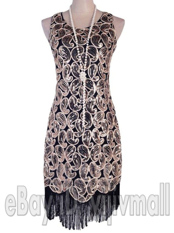 e33fc190afe Vintage 1920S Flapper Dress Great Gatsby Black Sequin Fancy Charleston  Costume