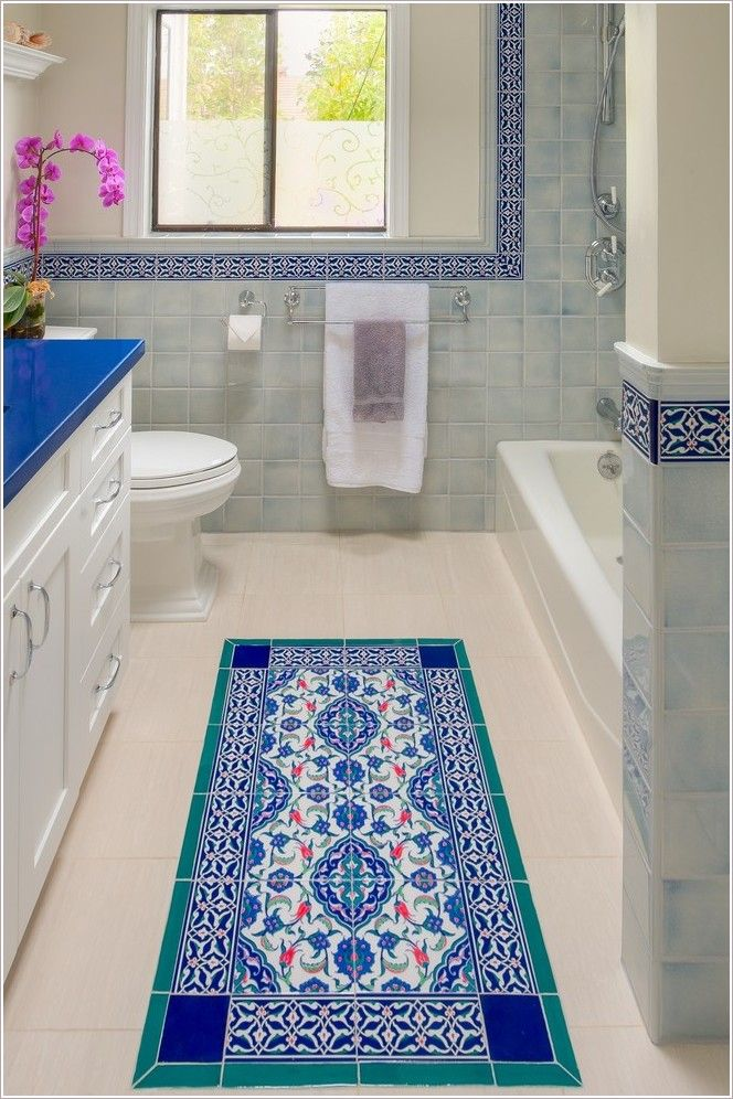 Bathroom Mediterranean San Francisco Blue Counter Floor Tile Moroccan Mosaic Pink