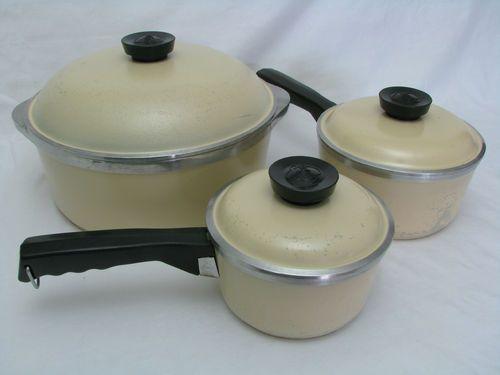 6 Pc Set Club Aluminum Almond Tan Yellow Cookware Dutch Oven Sauce Pans Cookware Set Cast Iron Oven Sauce Pans