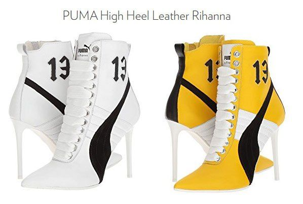 8a58502c4933 High Heel Sneakers in white and yellow. Sneaker heels are very popular, so  does it matter if they have the Nike swoosh or Puma emblem?