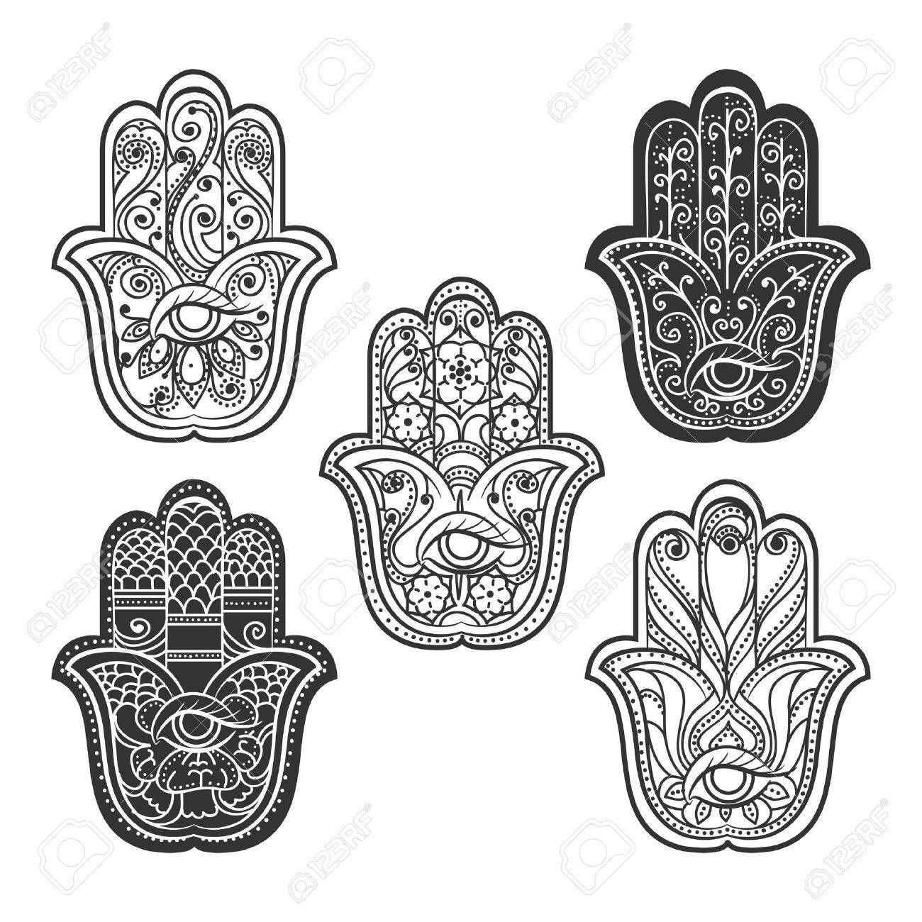 Indian Hamsa Hand Mit Auge Spiritual Ethnischen Ornament