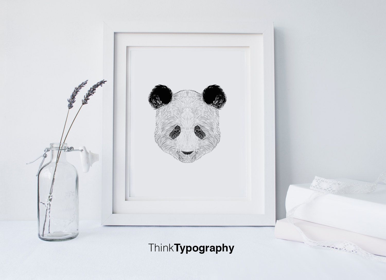 Panda poster, polygonal, geometric, geometrical art, art print, wall art, home decor, geometric animals, animal wall art by ThinkTypography on Etsy