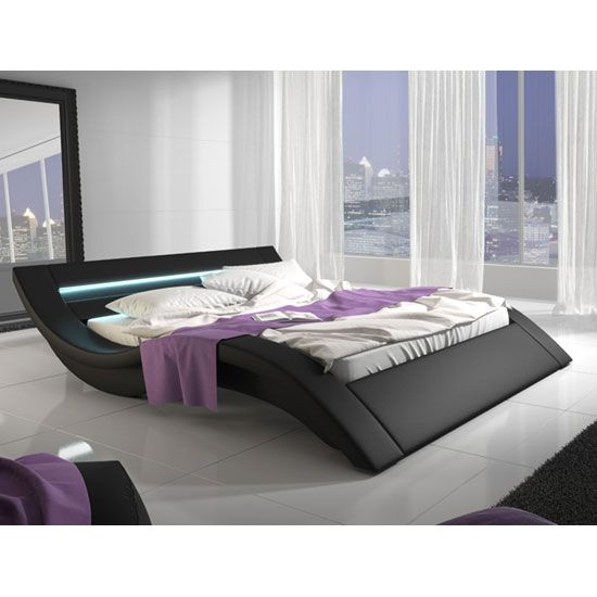 Sienna Designer King Size Bed In Black Pu With Multi Led Buy Leather Bed