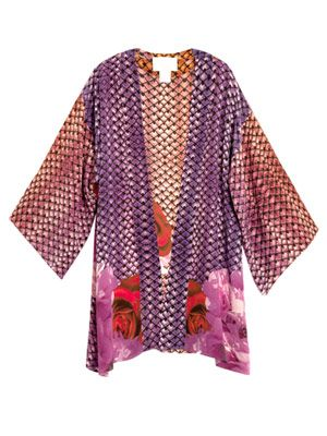 Dusk at Majorelle rose-print kaftan