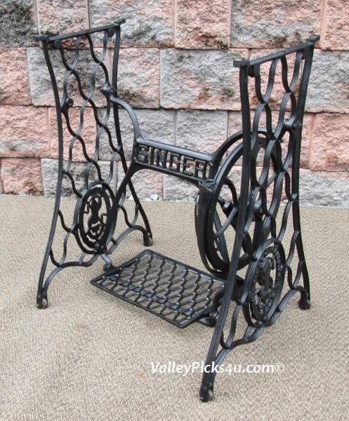 Antique Age Cast Iron Singer Sewing Machine Table Stand Base Legs