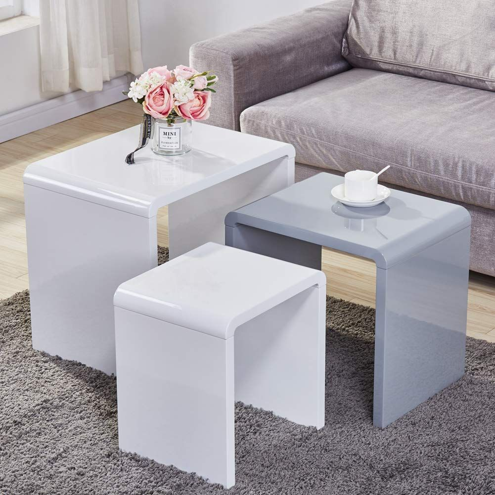 Goldfan Nest Of 3 Tables High Gloss Coffee Table Set Nesting Sofa Table Multi Functional End Side T White Living Room Tables Creative Coffee Table Coffee Table