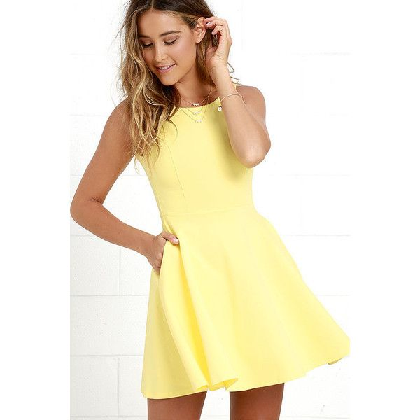Wanderlust Yellow Skater Dress ($44) ❤ liked on Polyvore featuring dresses, yellow, knit skater dress, circle skirt, skater dress, yellow skater skirt and flare skater dress