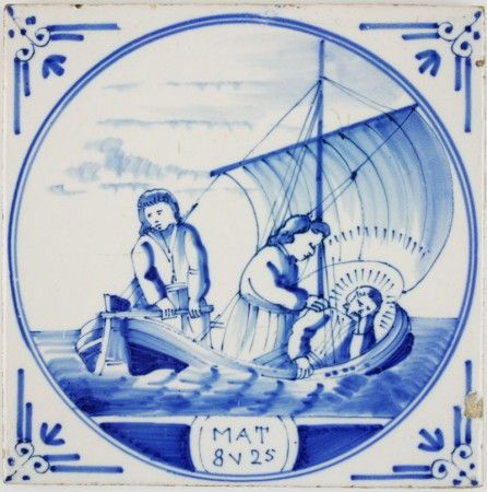 Antique Dutch Delft tile depicting the biblical scene in which the disciples wake Jesus, 19th century