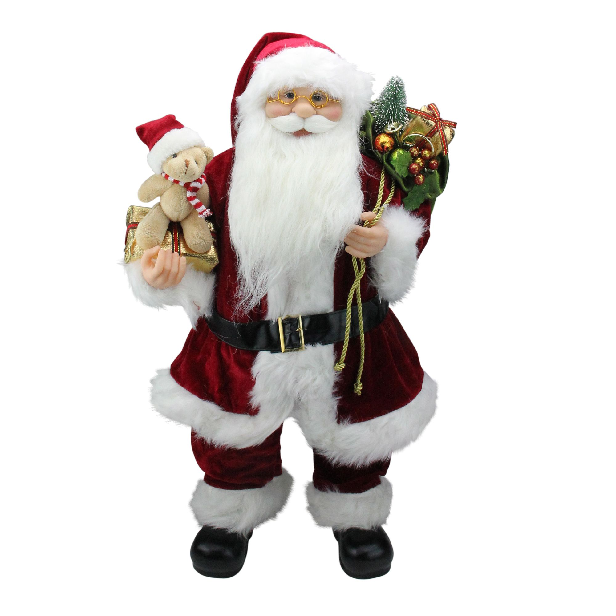24 Traditional Standing Santa Claus Christmas Figure With Teddy Bear And Gift Bag Santa Claus Santa Claus Figure Teddy Bear