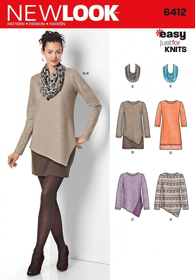 Free UK P&P - New Look Ladies Easy Sewing Pattern 6412 Jersey Knit ...