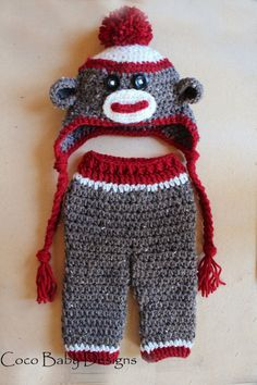 Resultado de imagen para crochet sock monkey pants crochet 2 crochet baby sock monkey hat and pant set makes great photo prop dt1010fo
