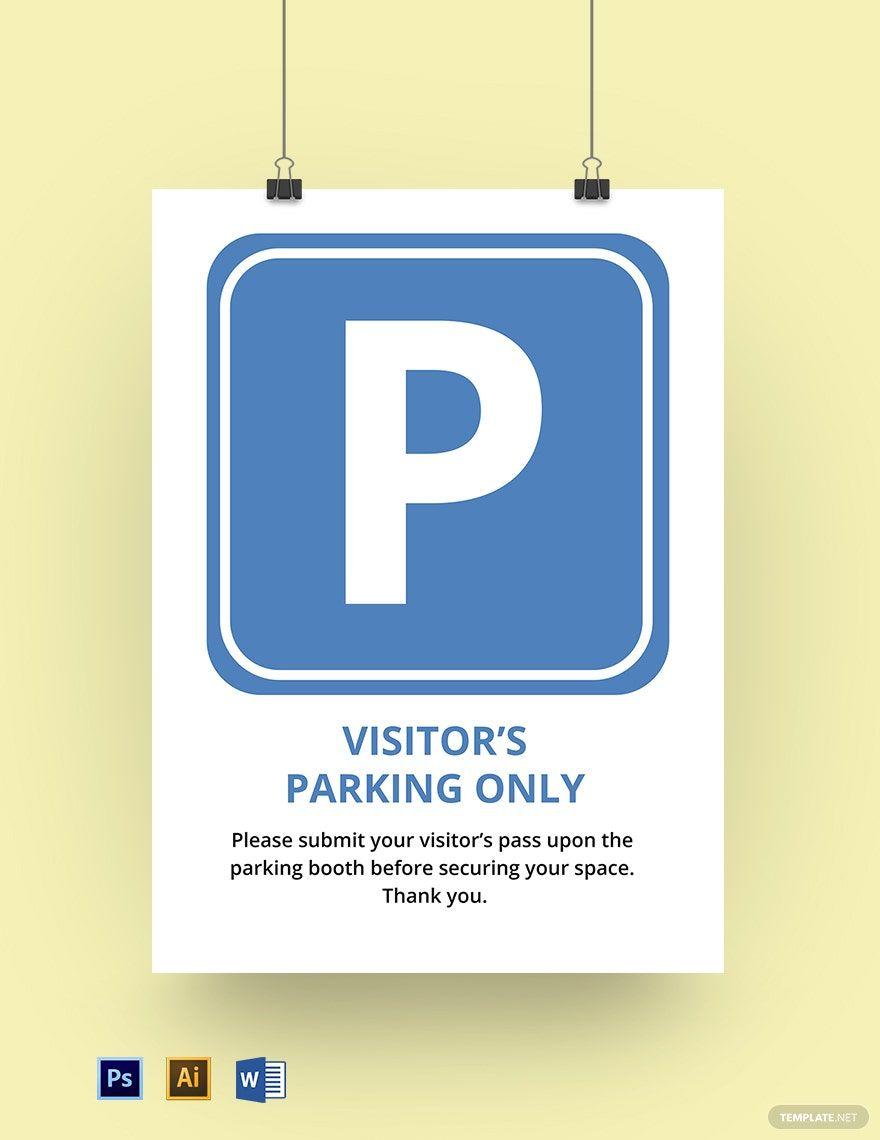 School Visitor Parking Sign Template Word Psd Illustrator Teacher Door Signs Sign Templates Teacher Doors