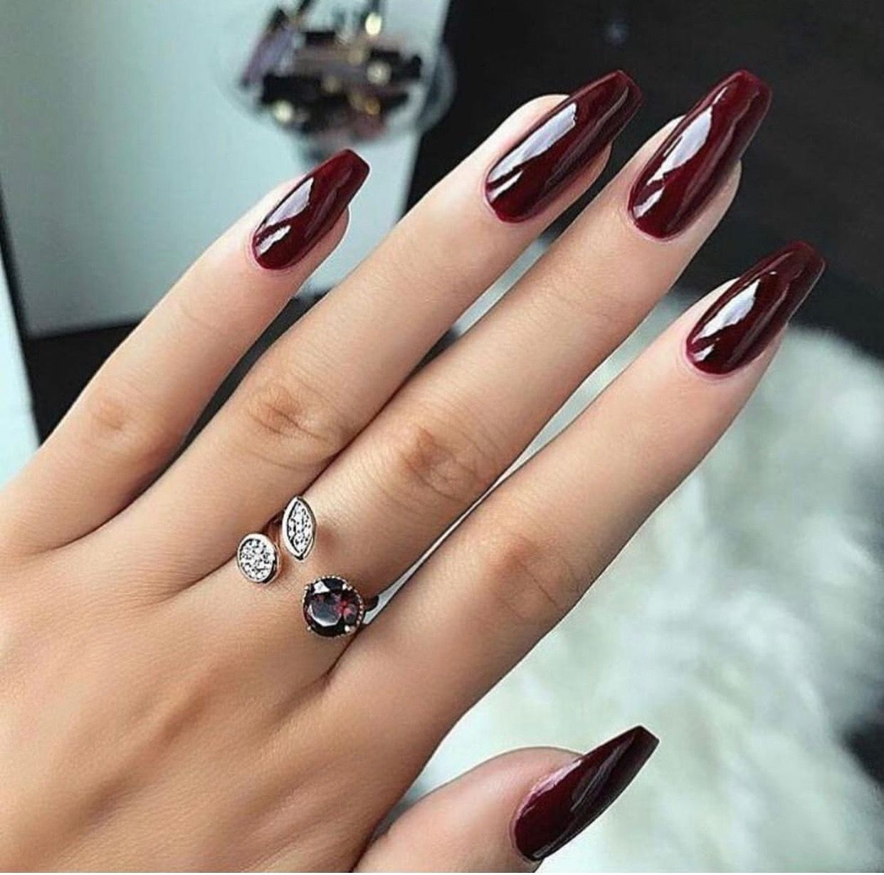 This Is My Go To Fall Color Just Around The Corner Long Acrylic Nail Designs Narrow Round Shape Burgundy Nails Long Acrylic Nails Long Acrylic Nail Designs