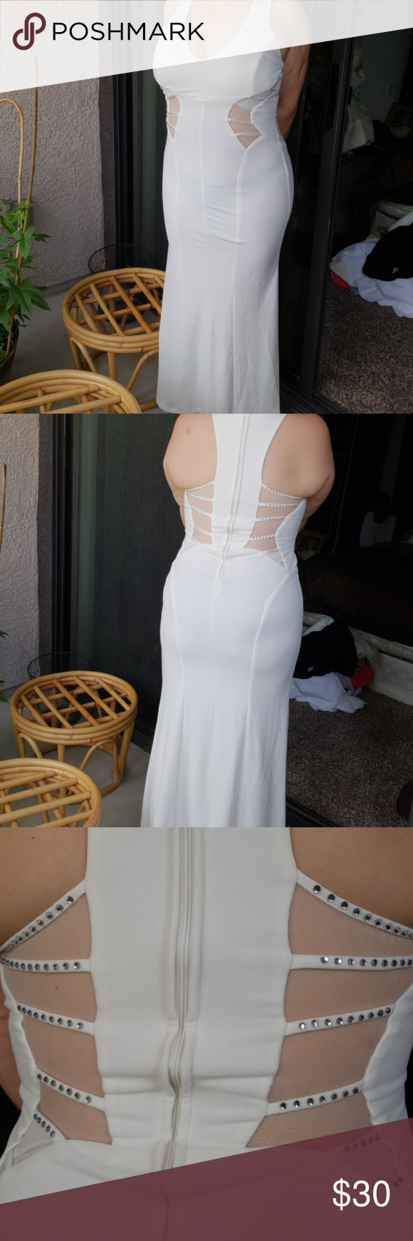 Windsor white party dress size large long white pretty party dress