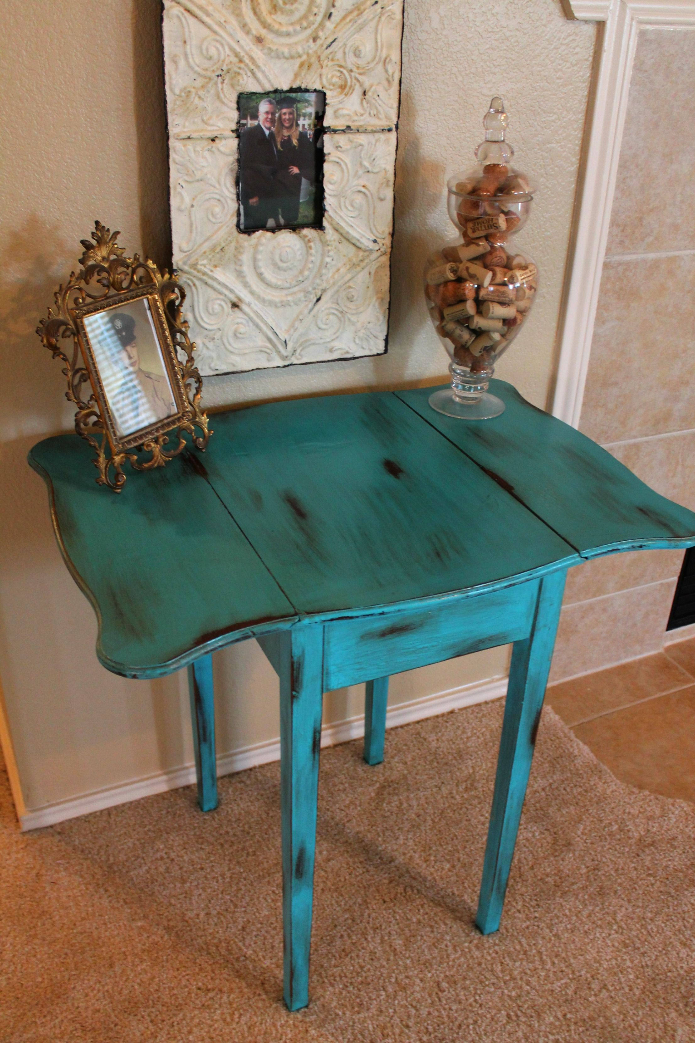 Distressed turquoise drop leaf table | Such LoveLeigh Design ...