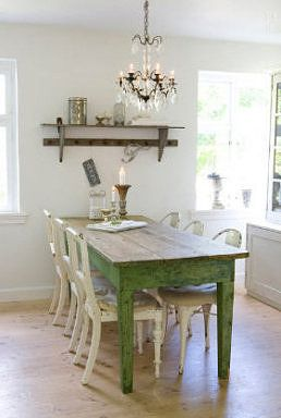 Farmhouse table, chandelier, shelf