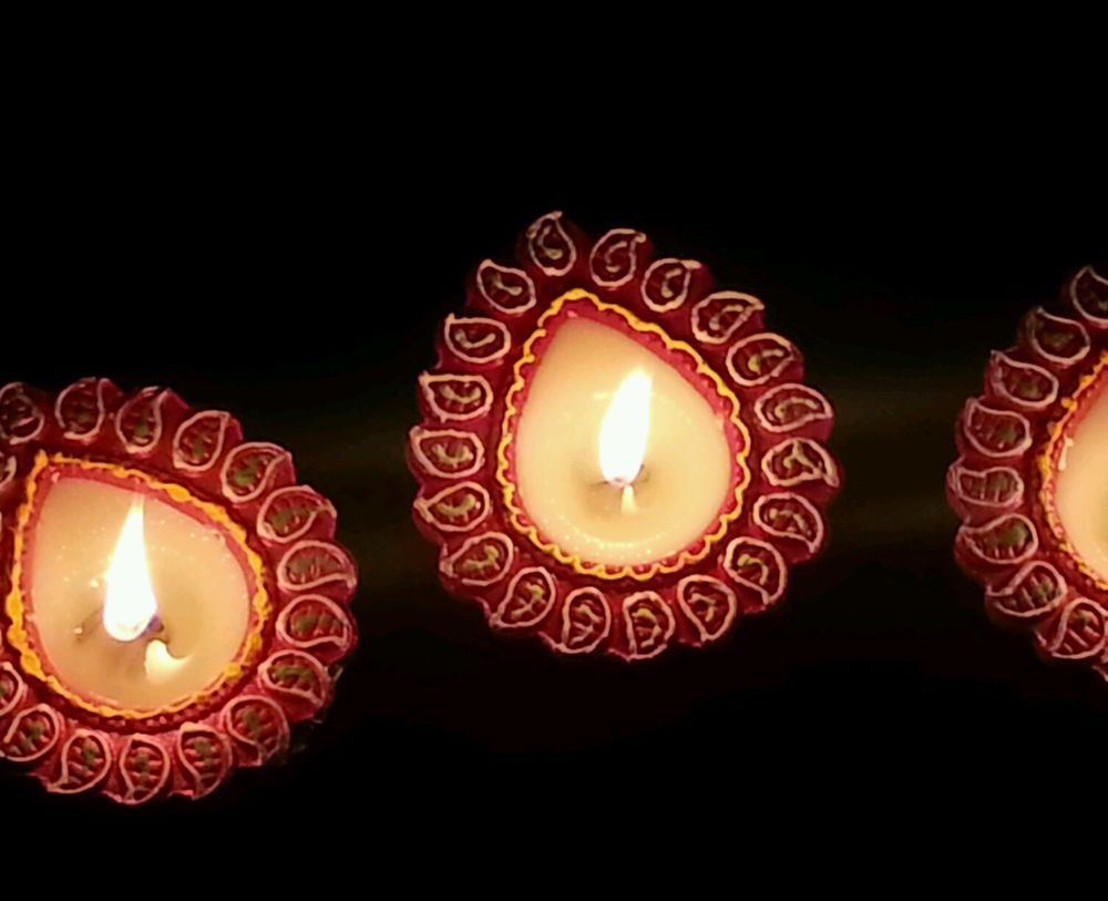 Handmade Candles From India, 4 Pcs. Hand Painted Clay ...