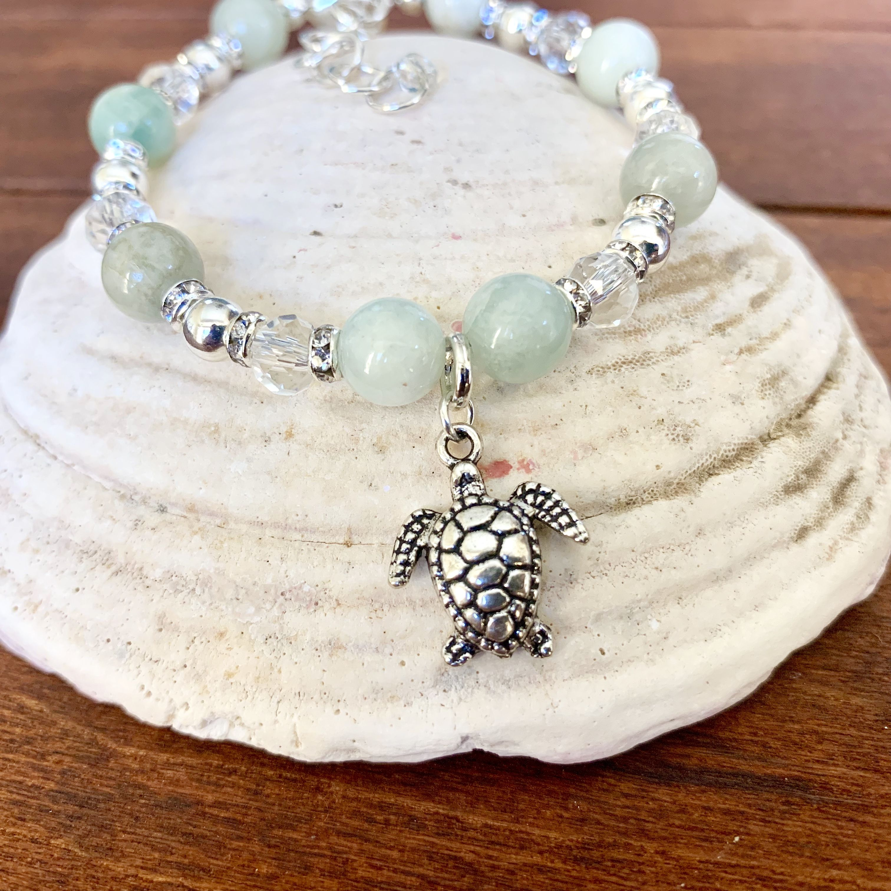 Turtle Bracelet with Green Shell Beads