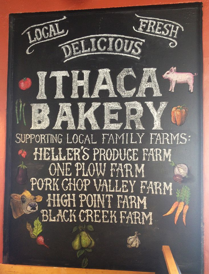 Ithaca Bakery Local Farms Chalk Board Featuring Hand Lettering