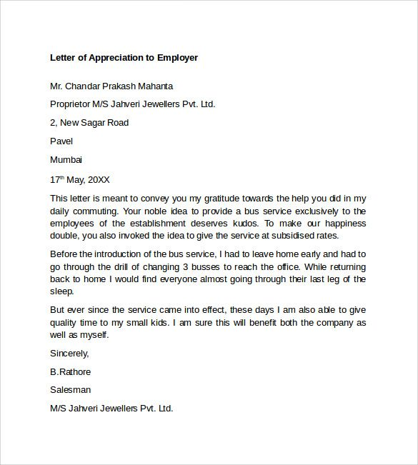 Appreciation Letter Boss Sample Thank You Letters For Examples Pdf