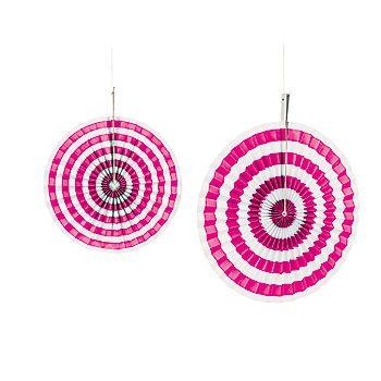 Hot Pink Stripe Hanging Fans