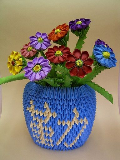 3d origami round vase with flowers 3d origami so cool 3d origami round vase with flowers mightylinksfo