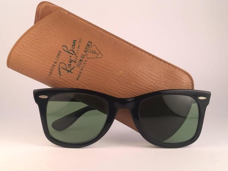 Ray Ban Wayfarer 1960 s Mid Century Black RB3 Lenses B L USA Sunglasses e55eebb69b