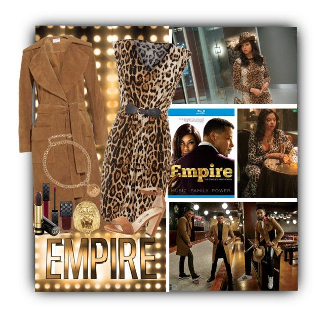 """Empire's Hottest Style: Lyons in Animal Print & Camel"" by lovelyblk ❤ liked on Polyvore featuring Frame Denim, Mela Loves London, Manolo Blahnik, Gucci, Versace, Ela Stone and EmpireInsider"