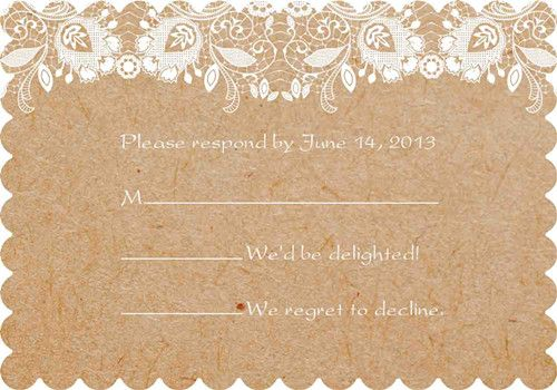 Affordable Vintage Lace Scallop Shaped Wedding Invitations