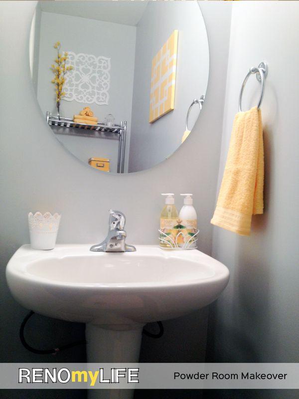 Beautiful Yellow & Grey DIY Powder Room Makeover on # ...