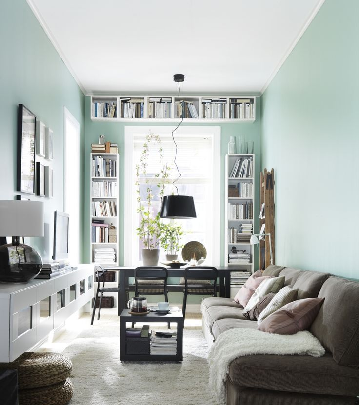 Narrow Living Room With Desk And Bookshelves At The Window  A Stunning Narrow Living Room Design Decorating Design