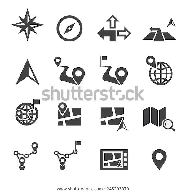 Navigation Icon Technology Signs Symbols Stock Image