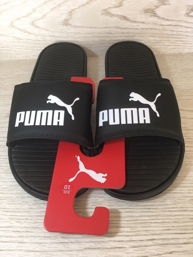 7418626c9a52 Puma Men Size 10 Black Flip Flop Sport Velcro Slides Beach Sandals New   32.00