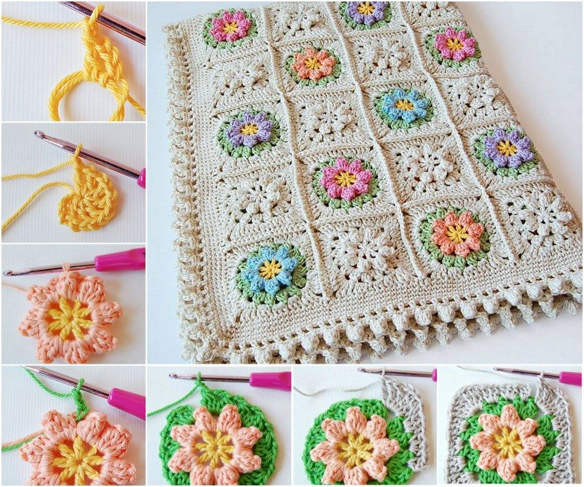 DIY Crochet Daisy Flower Square Blanket with Free Pattern ...